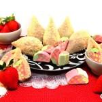 Coxinhas recheadas com marshmallow de morango