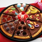 Pizza de chocolate com balas de gelatina