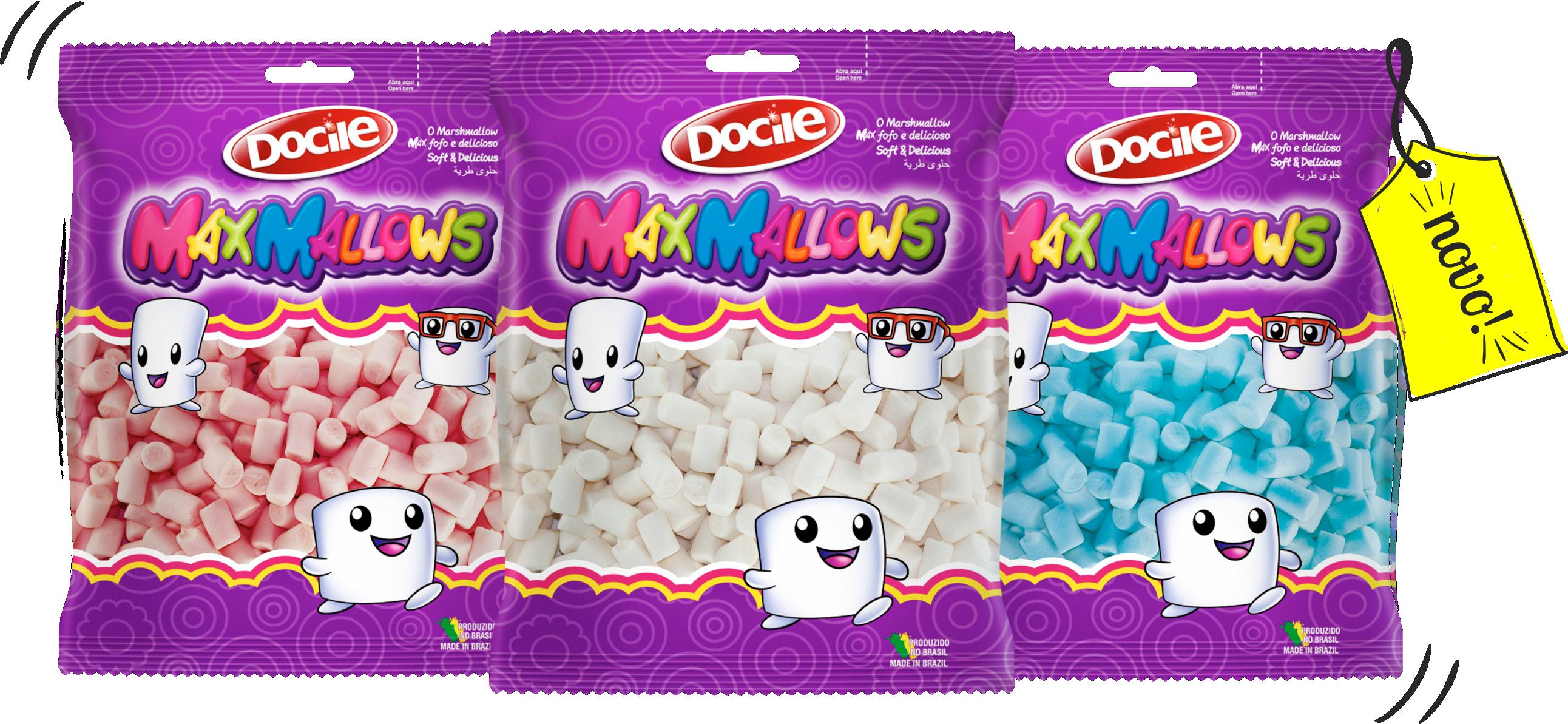 Mini Mas Maxmallows Marshmallow Oferecidos Em Pacotes De 150g Os Esto Disponveis Nas Cores Azul Branco E Rosa