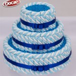Bolo de MaxMallows Twist azul e branco